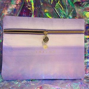 Gorgeous TATCHA purple travel bag gold zipper NWT